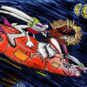 rabbit and Jesus on a carrot rocketship