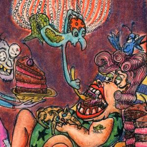 illustration of woman eating chocolate cakd